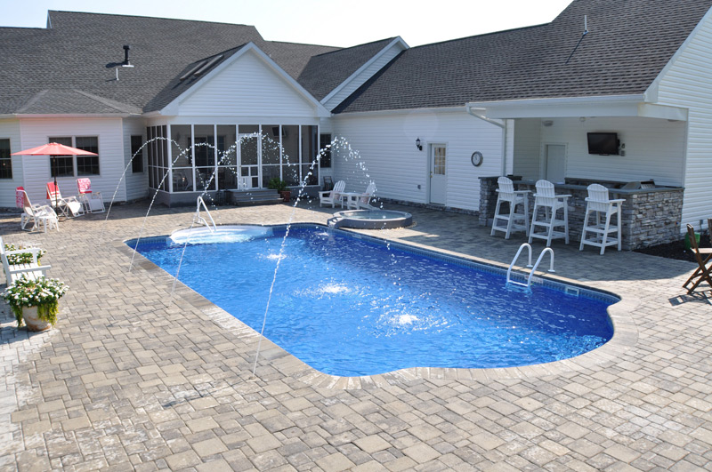 Pool Overflow Spa Stone Patio In Hampton Bays Patricks